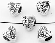 Large-hole-style metal beads roundel heart decorated ± 9x10mm (hole ± 5mm)