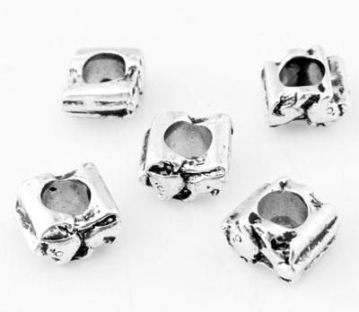 www.beadyourfashion.com - Large-hole-style metal beads roundel mouse ± 6x10mm (hole ± 4,5mm)