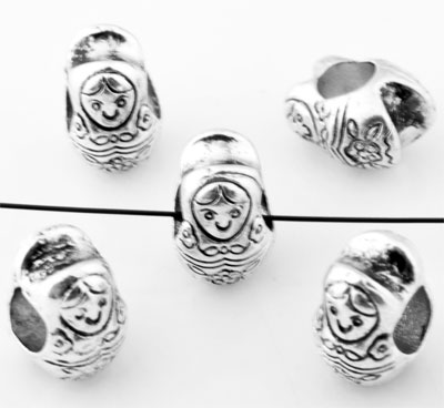 www.beadyourfashion.com - Large-hole-style metal beads roundel Matrushka doll ± 9x12mm (hole ± 5mm)
