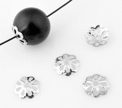 www.beadyourfashion.com - Metal caps flower ± 8mm, ± 1mm thick (± 320 pcs.)