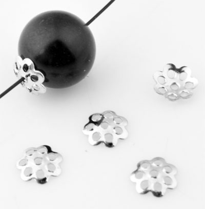 www.beadyourfashion.nl - Metalen kapjes filigraan bloem ± 7mm, ± 1mm dik (± 350 st.)