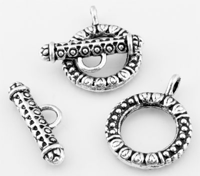 www.beadyourfashion.com - Metal toggle clasp decorated, with eye ± 23x18mm (eye ± 3mm)