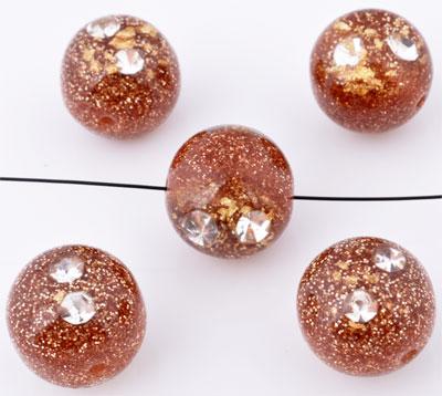 www.beadyourfashion.nl - Kunststof kralen rond met glitters en strass ± 16mm (gat ± 2mm)
