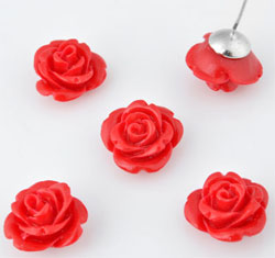 www.beadyourfashion.com - Natural stone coral (20%) with synthetic material (80%) rose with half-drilled hole ± 9x15mm