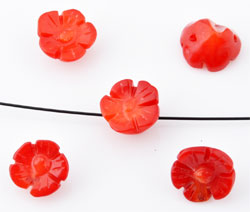 www.beadyourfashion.com - Natural stone beads coral flower ± 7x4 - 10x6mm