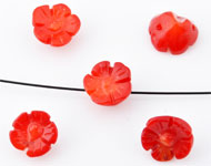 Natural stone beads coral flower ± 7x4 - 10x6mm