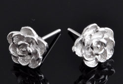 www.beadyourfashion.com - 925 Silver ear studs (sterling silver) rhodium plated rose ± 12x9mm with silver clasp