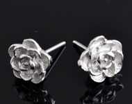 925 Silver ear studs (sterling silver) rhodium plated rose ± 12x9mm with silver clasp