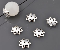 www.beadyourfashion.com - 925 Silver caps (sterling silver) flower ± 8mm, ± 2mm thick