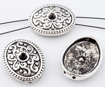 www.beadyourfashion.com - Metal dividers oval decorated ± 22x17mm with setting for SWAROVSKI ELEMENTS 1028/1088 PP32 (± 4mm) pointed back