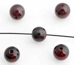 www.beadyourfashion.com - Natural stone beads Garnet, round ± 6mm