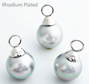 www.beadyourfashion.com - 925 Silver pendant/charm (sterling silver) rhodium plated, with mother of pearl and large hole ± 20x12mm (hole ± 4mm) (suitable for B00973-B00975)