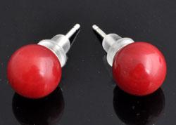 www.beadyourfashion.nl - 925 Zilveren oorstekers (sterling silver) met natuursteen koraal ± 18x8mm met kunststof dopjes