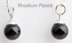www.beadyourfashion.com - 925 Silver pendant/charm (sterling silver) rhodium plated, with natural stone Agate and large hole ± 20x10mm (hole ± 5mm) (suitable for B00973-B00975)