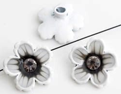 www.beadyourfashion.com - Metal beads flower decorated with epoxy, strass, glitter and with hole at the back ± 20mm, ± 6mm thick