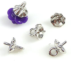 www.beadyourfashion.com - Metal pendant/charm rhodium plated with pin for bead with half-drilled hole ± 8x6mm (pin ± 0.9mm thick)