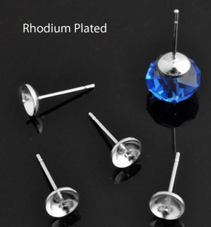 www.beadyourfashion.com - Metal ear studs rhodium plated with pin for bead with half-drilled hole ± 14,5x6mm (pin ± 0,9mm thick)