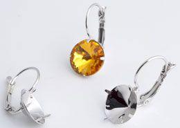 www.beadyourfashion.nl - Metalen klap oorbellen rhodium plated ± 23x10mm met kastje voor SWAROVSKI ELEMENTS 1122 SS47 (± 10,7mm) similisteen