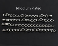 Metalen verlengketting rhodium plated ± 70mm