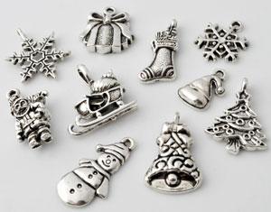 www.beadyourfashion.nl - Mix metalen hangers/bedels Kerst ± 16x10 - 24x15mm