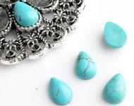 Natuursteen plakstenen imitatie turquoise druppel ± 10x7mm