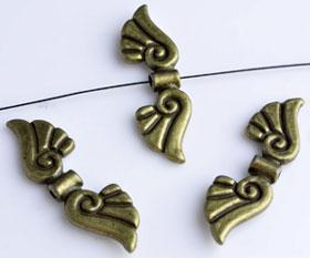 www.beadyourfashion.com - Metal beads wings ± 11x36mm