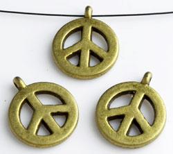 www.beadyourfashion.nl - Metalen hangers/bedels vredesteken ± 18x15mm