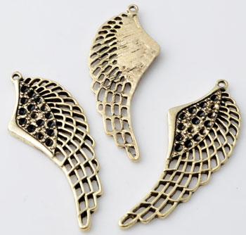www.beadyourfashion.fr - Pendentif/breloque de métal, aile décorée ± 52x20mm avec cadres pour SWAROVSKI ELEMENTS 1028/1088 PP14 (± 1,5mm) imitations de diamant