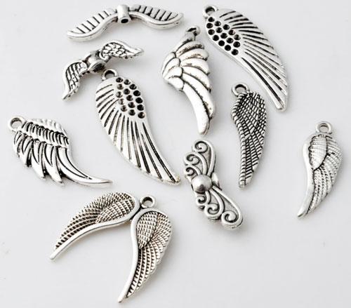 www.beadyourfashion.nl - Mix metalen kralen en hangers/bedels vleugels ± 22x7 - 33x10mm