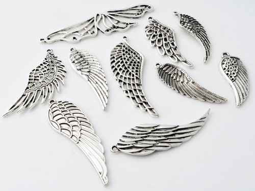 www.beadyourfashion.com - Mix metal pendants/charms wings decorated ± 35x14 - 68x18mm