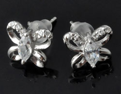 www.beadyourfashion.com - 925 Silver ear studs (sterling silver), butterfly with cubic zirconia ± 9x10mm, ± 14mm long, with synthetic ear nuts