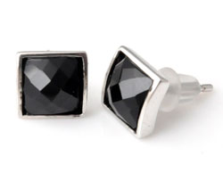 www.beadyourfashion.com - 925 Silver ear studs (sterling silver), square with natural stone Agate ± 8mm, ± 14,5mm lang, with synthetic ear nuts