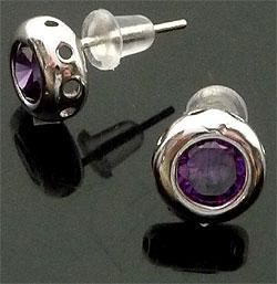 www.beadyourfashion.es - Pendientes de 925 plata (sterling silver), redondo con circonita ± 9mm, ± 15mm largo, con tapas de plástico