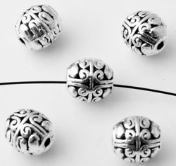 www.beadyourfashion.nl - Metalen kralen ovaal bewerkt ± 7,5x7mm