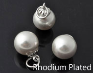 Mother of pearl pendant/charm pearl round, with messing pendant bail rhodium plated ± 22x12mm