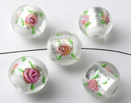 Glass beads Italian style round, with silverfoil and flowers ± 16x18mm