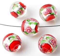 www.beadyourfashion.nl - Glaskralen Italian style rond, met zilverfolie en bloemen ± 13x14mm
