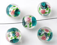 Glass beads Italian style round, with silverfoil and flowers ± 13x14mm
