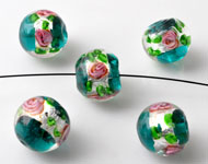 Glass beads Italian style round, with silverfoil and flowers ± 10x12mm