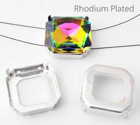 www.beadyourfashion.nl - Brass opnaai/rijg kastjes (messing) rhodium plated vierkant ± 23mm voor SWAROVSKI ELEMENTS 4675 ± 23mm Fancy Stone