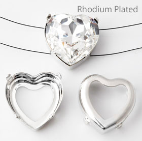www.beadyourfashion.com - Brass sew-on/string settings rhodium plated heart ± 28x28mm for SWAROVSKI ELEMENTS 4827 ± 28mm Fancy Stone