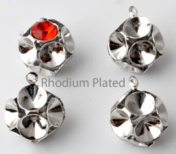 www.beadyourfashion.com - Brass pendants/charms rhodium plated ball ± 15x10mm with 12 settings for SWAROVSKI ELEMENTS 1028/1088 SS24 (± 5,3mm) pointed backs