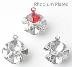 www.beadyourfashion.nl - Brass hangers/bedels (messing) rhodium plated bol ± 13x9mm met 12 kastjes voor SWAROVSKI ELEMENTS 1028/1088 SS19 (± 4,5mm) similistenen