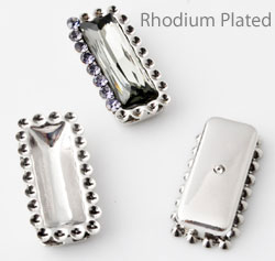 www.beadyourfashion.com - Metal dividers rectangle decorated ± 19x9mm with settings for SWAROVSKI ELEMENTS 4547 ± 15x5mm Fancy Stone and 1028/1088 PP9 (± 1,5mm) pointed backs