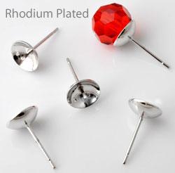 www.beadyourfashion.nl - Brass oorstekers (messing) rhodium plated, met pin voor kraal met halfgeboord gat ± 15x6mm (pin ± 0,9mm dik)