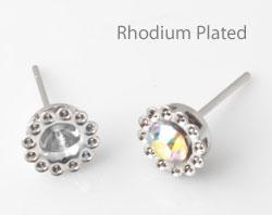 www.beadyourfashion.nl - Brass oorstekers (messing) rhodium plated bewerkt ± 15x8mm met kastjes voor SWAROVSKI ELEMENTS 1028/1088 PP32 (± 4mm) en PP9 (± 1,5mm) similisteen