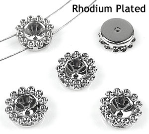 www.beadyourfashion.com - Brass dividers rhodium plated ± 9mm with settings for SWAROVSKI ELEMENTS 1028/1088 SS24 (± 5,3mm) and PP9 (± 1,5mm) pointed backs