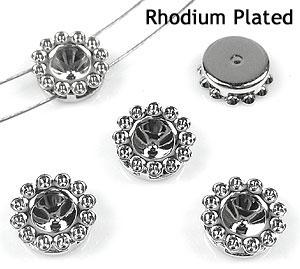www.beadyourfashion.nl - Brass verdelers (messing) rhodium plated bewerkt ± 8mm met kastje voor SWAROVSKI ELEMENTS 1028/1088 PP32 (± 4mm) en PP9 (± 1,5mm) similisteen