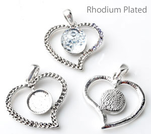 www.beadyourfashion.com - Metal pendant/charm rhodium plated heart decorated ± 33x28mm with settings for SWAROVSKI ELEMENTS 4869 ± 12mm Fancy Stone and 1028/1088 PP14 (± 2mm) (42x) pointed backs