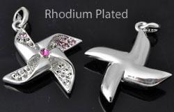 www.beadyourfashion.nl - Metalen hanger/bedel rhodium plated molentje bewerkt ± 37x28mm met kastjes voor SWAROVSKI ELEMENTS 1028/1088 PP14 (± 2mm) (24x) en PP24 (± 3,1mm) similistenen